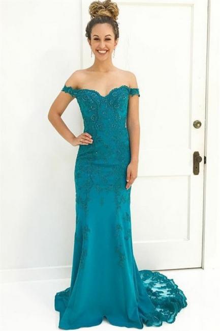 Charming Off-the-Shoulder Appliques Teenage Beading Floor-Length Online Prom Dress Sale | Suzhoudress UK