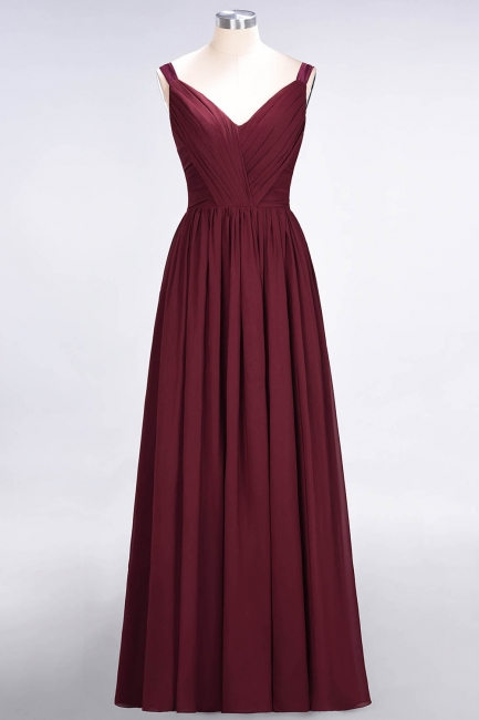 A-line Chiffon Straps V-Neck Summer Backless Floor-Length Bridesmaid Dress UK with Ruffles