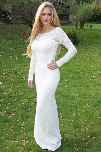 Gorgeous Round Neck Long Sleeves Appliques Floor-Length Online Prom Dress Sale   Suzhoudress UK