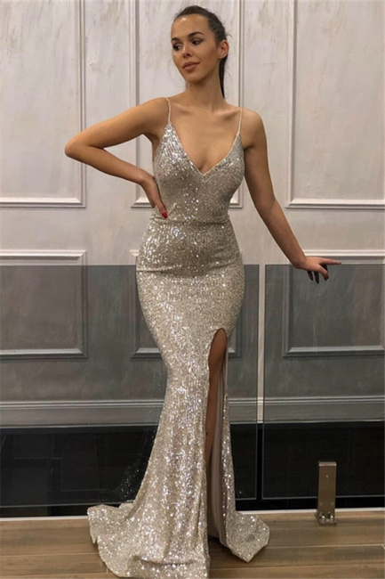 Mermaid Fit and Flare Sequins Spaghetti-Straps Summer Front-Slipt Prom Dress UK