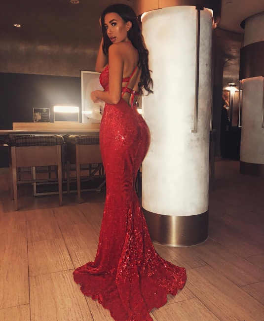 Elegant Red Lace-up Teenage Sexy Trumpet/Mermaid Floor-Length Online Prom Dress Sale | Suzhoudress UK