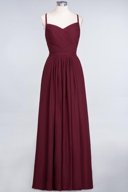 A-line Chiffon Spaghetti-Straps Sweetheart Summer Floor-Length Bridesmaid Dress UK with Ruffles