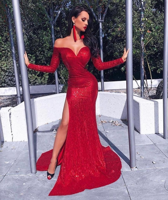 Charming Long Sleeves Best Fit Column Front Split Online Prom Dress Sale | Suzhoudress UK