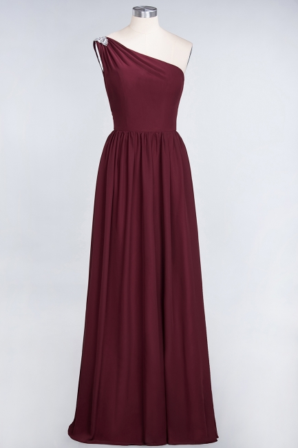 A-line Chiffon One-Shoulder Summer Ruffles Floor-Length Bridesmaid Dress UK with Beadings