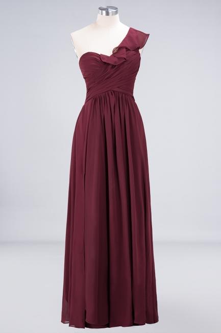 A-line Chiffon One-Shoulder Sweetheart Summer Floor-Length Bridesmaid Dress UK with Ruffles