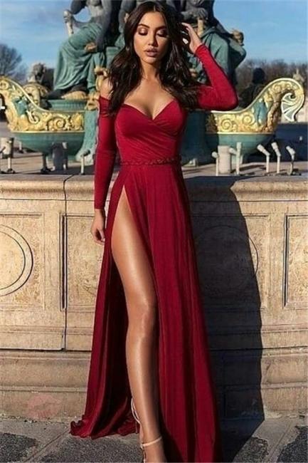 Charming Off-the-Shoulder Womens V-Neck Long Sleeves Front Slipt Online Prom Dress Sale | Suzhoudress UK