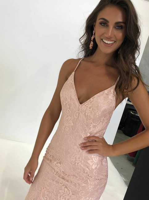 Charming Thin Straps Teenage Womens V-Neck Backless Appliques Online Prom Dress Sale | Suzhoudress UK