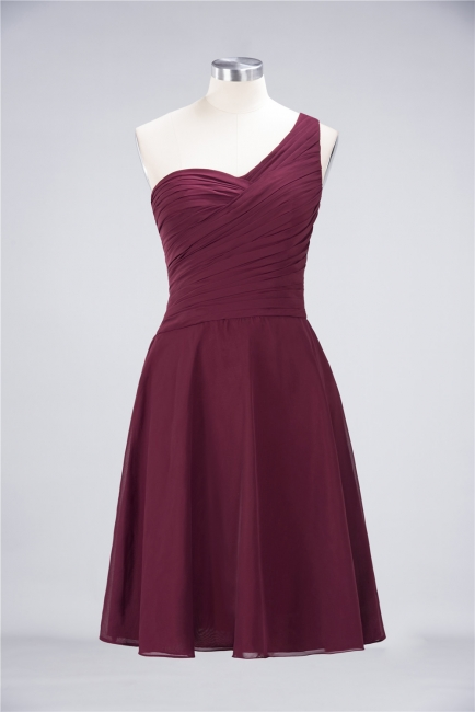 A-line Chiffon One-Shoulder Sweetheart Summer Knee-Length Bridesmaid Dress UK with Ruffles
