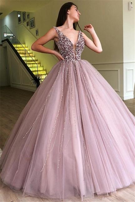 Tulle Beading Deep-V-Neck Straps Summer Prom Dress UK