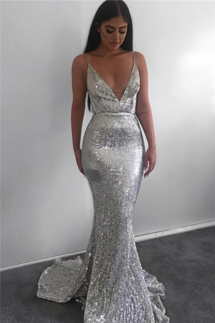 Sparkling Mermaid Fit and Flare Sequins Spaghetti-Straps Summer Long Prom Dress UK