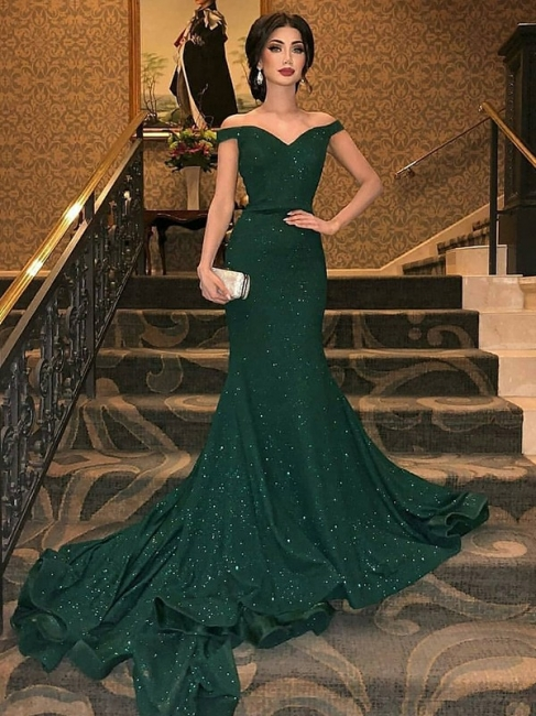 Dark Green Off-The-Shoulder Shining Sequins Mermaid Sleeveless Sweep Train Exclusive Prom Dresses UK | New Styles