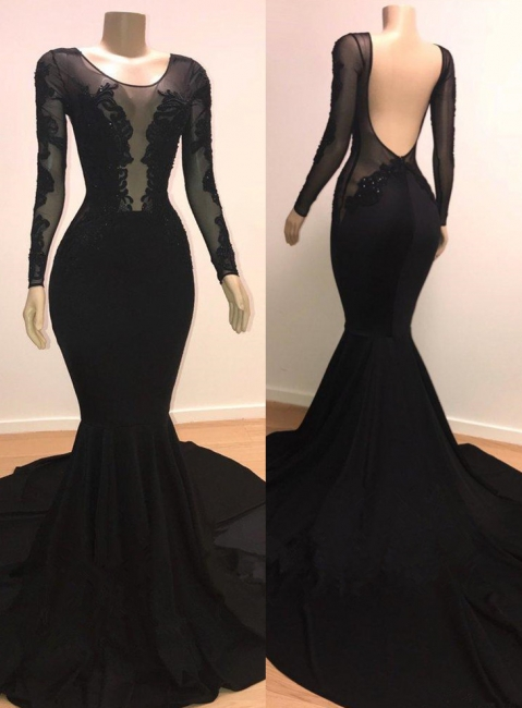 Unique Scoop Sleeved Mermaid Evening Gowns Open Back Prom Dresses UK