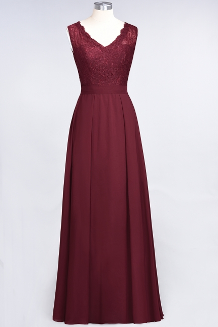 Modest Chiffon Lace Bridesmaid Dress V-Neck Sleeveless Online