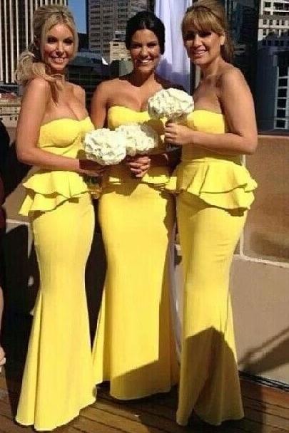 Mermaid Bright Yellow  Wedding Party Dress Ruffles Long Peplum Bridesmaid Dresses