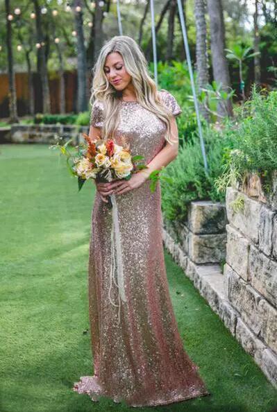 Gorgeous Sequin Gold Bridesmaid Dresses Long Wedding Guest Dresses
