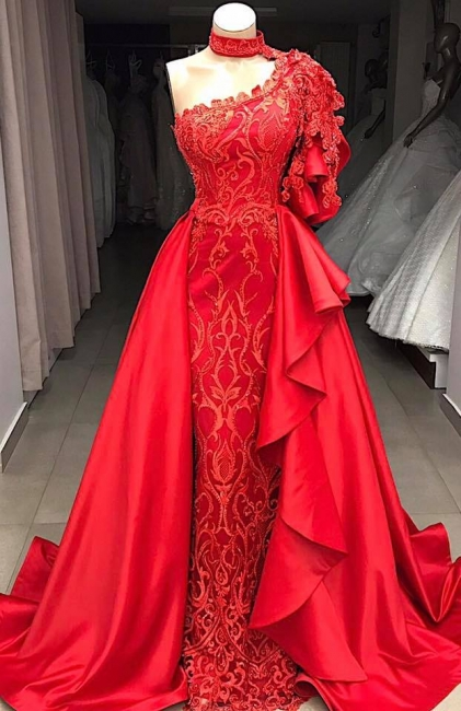 Beautiful One Shoulder Halter Appliques Shining Sequins Fitted Floor-Length Exclusive Prom Dresses UK | New Styles