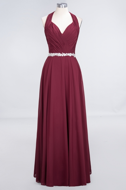 Charming Halter V-Neck Sleeveless Ruffle Bridesmaid Dress with Sashes Online