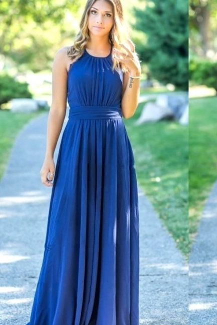 Ocean Blue Halter Chiffon  Bridesmaid Dresses Open Back On Sale