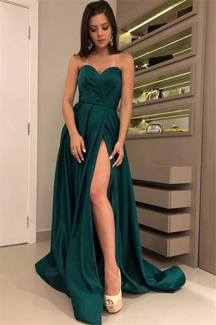 Chic Strapless Front Split Summer Floor-Length  A-line Prom Dress UKes UK