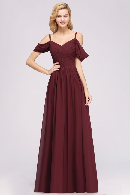 A-Line Chiffon Womens V-Neck Thin Straps Short-Sleeves Floor-Length Bridesmaid Dresses with Ruffles | Suzhoudress UK