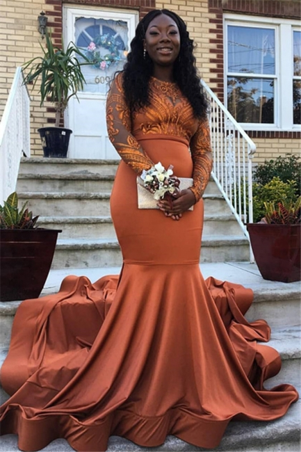Beautiful Round Neck Appliques Sleeved Mermaid Floor-Length Exclusive Prom Dresses UK   New Styles