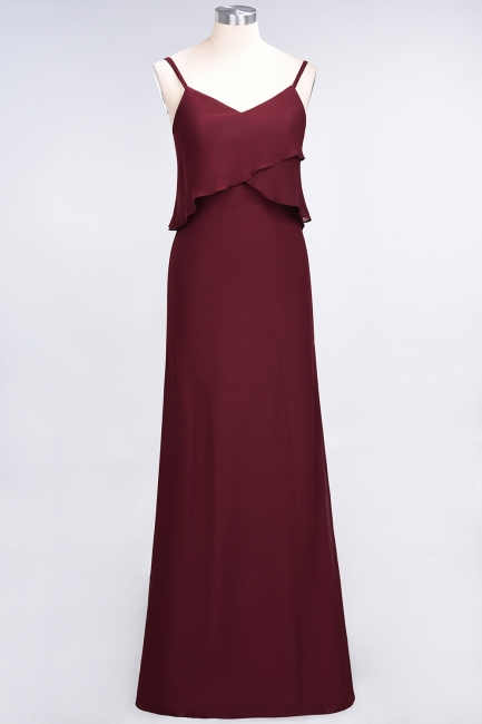 Modest Spaghetti-Straps V-Neck Mermaid Bridesmaid Dress Sleeveless Long