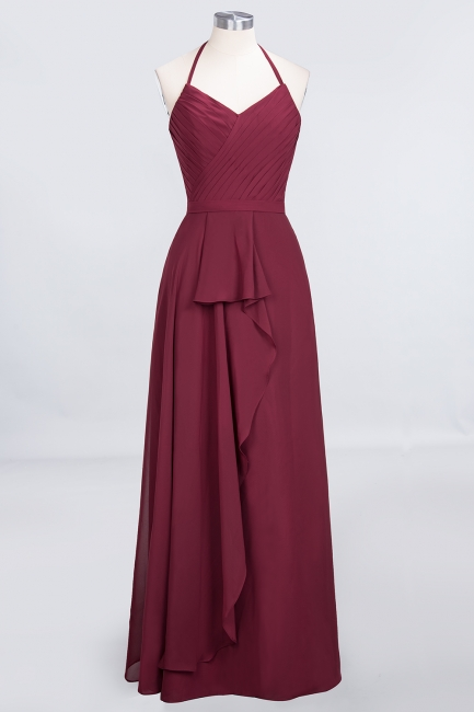 Amazing Chiffon Halter V-Neck Bridesmaid Dresses Sleeveless With Ruffles