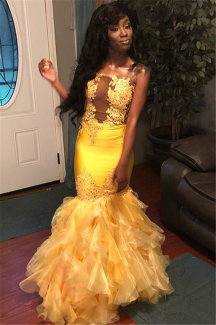 Chic Sleeveless Strapless Appliques Tulle Mermaid Floor-Length Exclusive Prom Dresses UK | New Styles