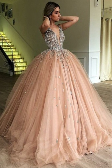 Chic V-Neck Straps Sleeveless Tulle Evening Prom Dress With Rhinestones