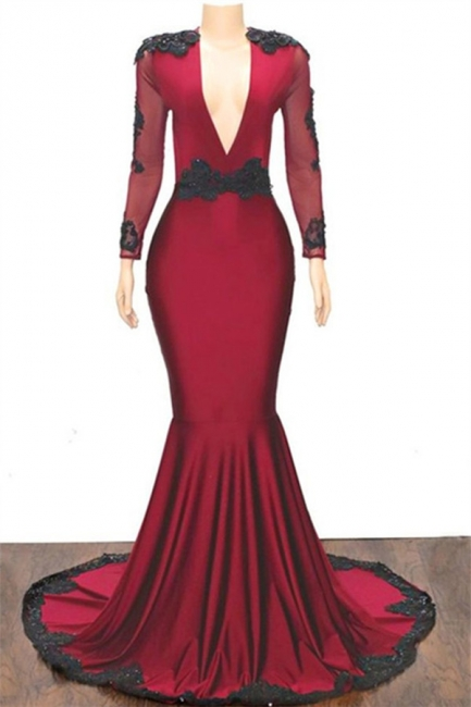 Unique Deep V-Neck Long Sleeves Appliques Mermaid Fit and Flare Floor-Length Prom Dress UKes UK