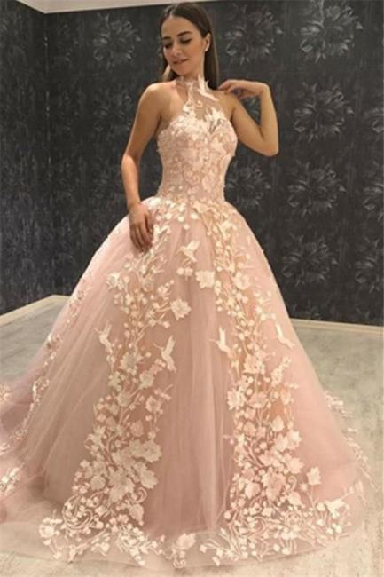 Chic Halter Sleeveless Tulle Prom Dress Puffy With Lace Appliques On Sale