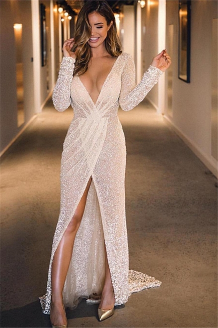 New Arrival Deep V-Neck Sleeved Front Split Fitted Floor-Length Exclusive Prom Dresses UK | New Styles