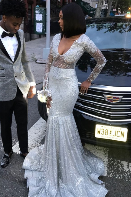 Unique V-Neck Sleeved Shining Sequins Mermaid Floor-Length Exclusive Prom Dresses UK | New Styles