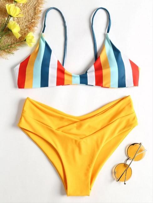Striped High Leg Cami Bikini