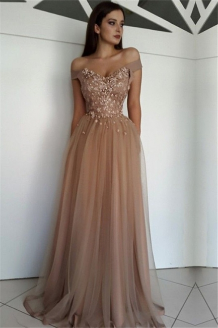 Beautiful Off-the-Shoulder Beading Appliques Tulle Fitted Floor-Length Exclusive Prom Dresses UK | New Styles
