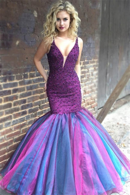 Elegant V-Neck Sleeveless Spaghetti Straps Rhinestones Mermaid Floor-Length Exclusive Prom Dresses UK | New Styles