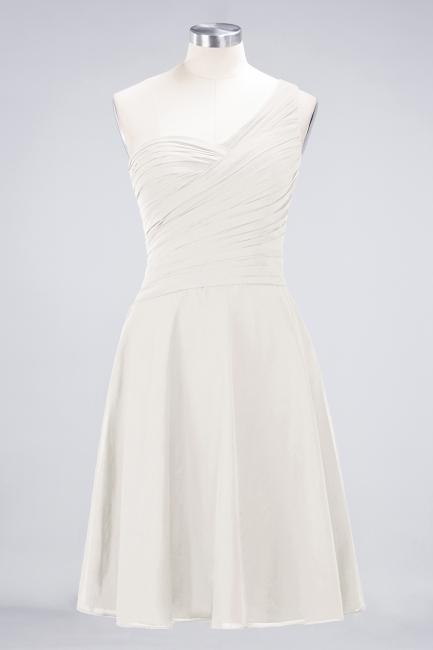A-line Chiffon One-Shoulder Sweetheart Summer Knee-Length Bridesmaid Dress UK with Ruffles