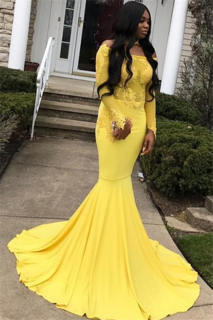 Stunning Off-the-Shoulder Sleeved Appliques Mermaid Floor-Length Exclusive Prom Dresses UK | New Styles