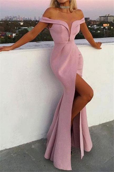 Unique Off-the-Shoulder V-Neck Front Split Mermaid Floor-Length Exclusive Prom Dresses UK | New Styles