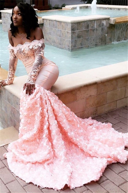 Beautiful Off-the-Shoulder Sleeved Appliques Mermaid Sweep Train Exclusive Prom Dresses UK   New Styles