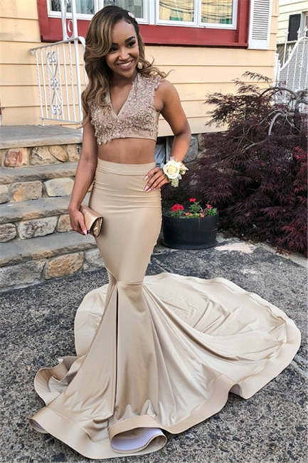 Two Pieces V-Neck Sleeveless Prom Dresses Mermaid Formal Wears With Appliques