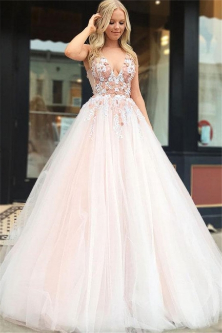 Beautiful Fitted Straps V-Neck Sleeveless Beading Appliques Floor-Length Exclusive Prom Dresses UK | New Styles
