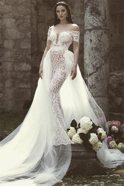 Glamorous Mermaid Off-the-Shoulder V-Neck Appliques Tulle Wedding Dresses | Bridal Gowns Online