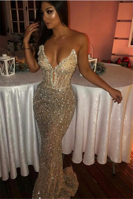 New Arrival Strapless Sleeveless Mermaid Prom Dresses With Sweep Train