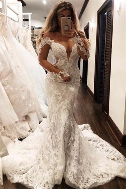 Elegant Mermaid Off-the-Shoulder Wedding Dresses Long-Sleeves V-Neck Appliques | Bridal Gowns Online
