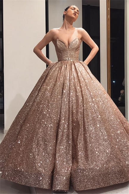 Charming Strapless Summer Ball Gown Sweep Train Prom Dress UKes UK