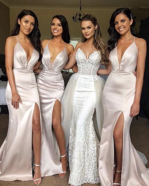 Flirty Spaghetti Straps Sleeveless V-neck Bridesmaid Dress With Split