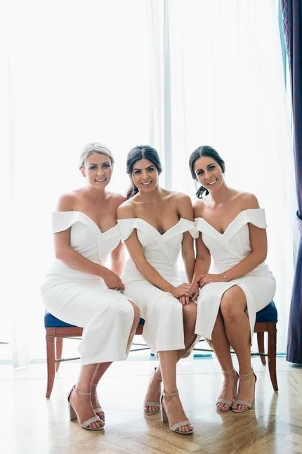 Off The Shoulder Flirty Long Bridesmaid Dresses With Split