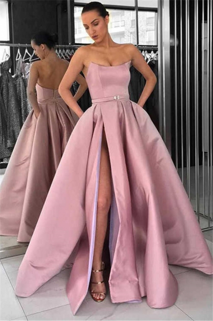 New Arrival Sleeveless Strapless Front Split Fitted Zipper Floor-Length Exclusive Prom Dresses UK | New Styles