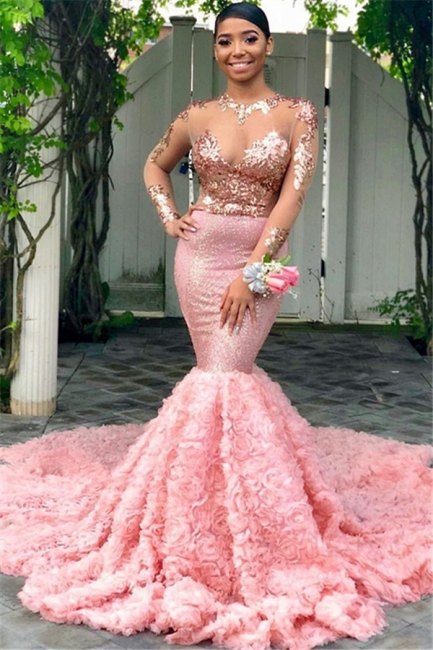 New Arrival Round Neck Sequins Mermaid Fit and Flare Long Sleeves Tulle Prom Dress UKes UK